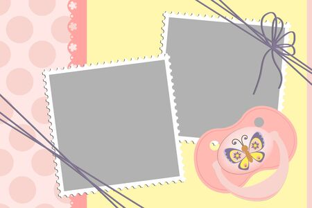 Cute template for baby's arrival announcement card or photo frame Stock Vector - 9539375