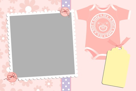 Cute template for baby's arrival announcement card or photo frame Stock Vector - 9541111