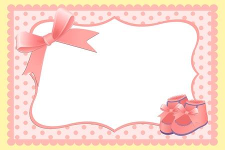 invitacion bebe: Plantilla lindo beb� llegada anuncio tarjeta o foto marco