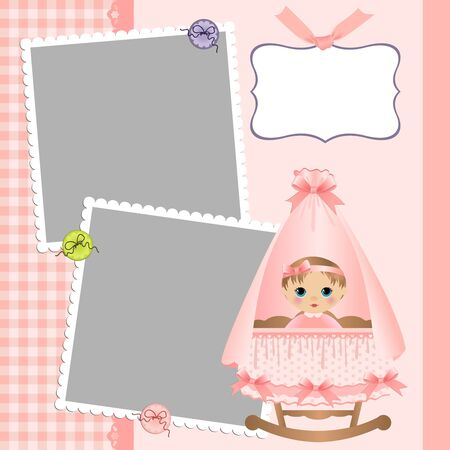 arrive: Cute template for babys arrival announcement card or photo frame Illustration