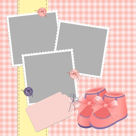 Cute template for baby's arrival announcement card or photo frame Stock Vector - 9541207