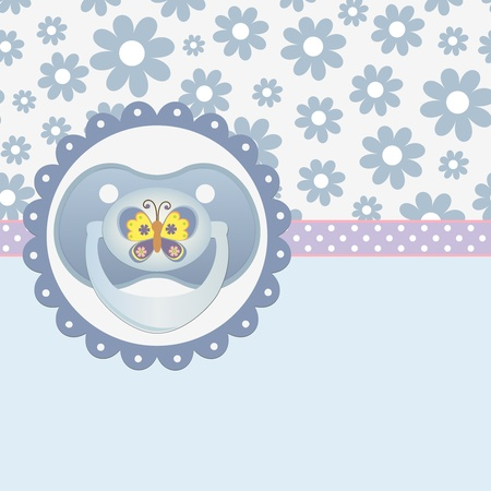 soother: Cute template for baby arrival announcement card Illustration