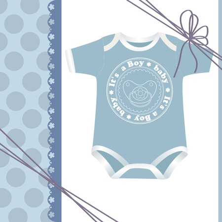 clothes cartoon: Cute template for baby arrival announcement card Illustration