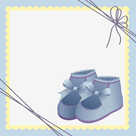 bootees: Cute template for baby arrival announcement card Illustration