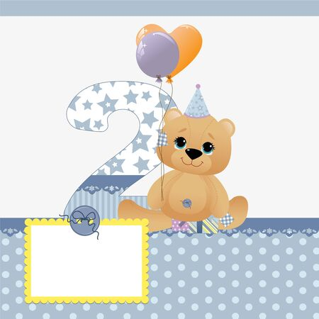 baby birthday: Cute template for baby birthday card