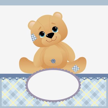 osos de peluche: Linda plantilla de tarjeta de presentación de llegada de bebé