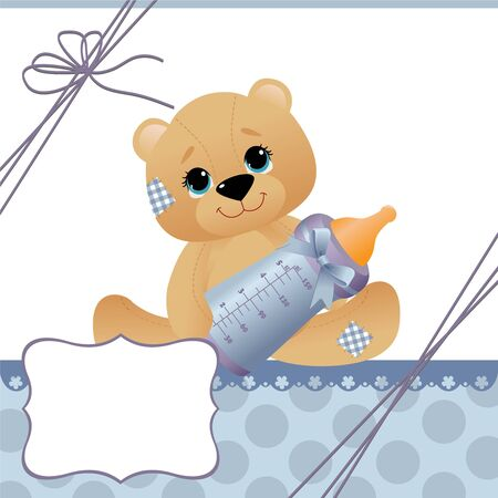 baby bear: Cute template for baby arrival announcement card Illustration