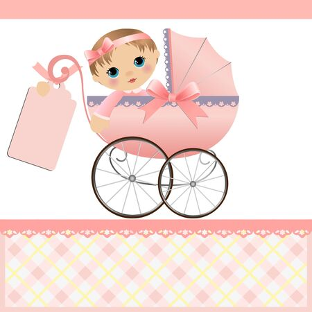 girls with bows: Cute template for baby arrival announcement card Illustration