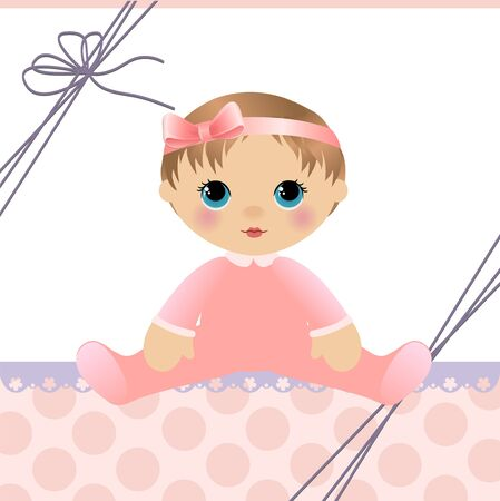 cute girl cartoon: Cute template for baby arrival announcement card Illustration
