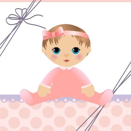 cartoon frame: Modello carino per carta di annuncio arrivo bambino