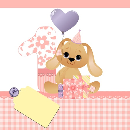 Cute template for baby birthday card Stock Vector - 9541227