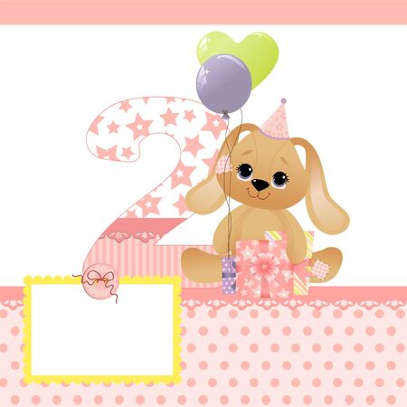 Cute template for baby birthday card Stock Vector - 9541208