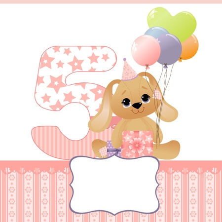 year of the rabbit: Cute template for baby birthday card
