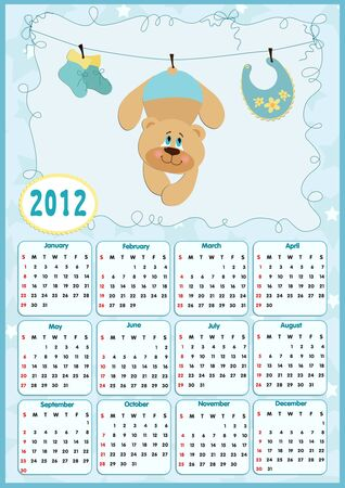 Babys calendar for year 2012 Vector