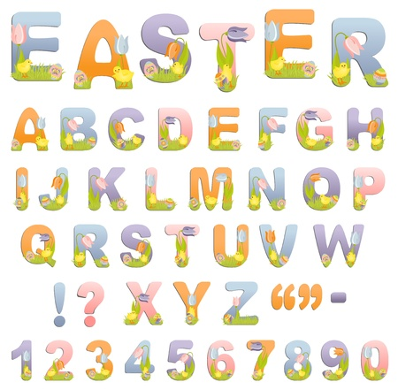 latin alphabet: Cute easter ABC alphabet