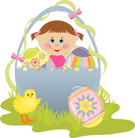 Cute Easter illustration with child, eggs and chick Stock Vector - 9541218