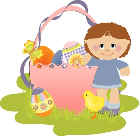 Cute Easter illustration with child, eggs and chick Vector
