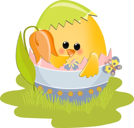 Cute Easter illustration with toy Stock Vector - 9541175