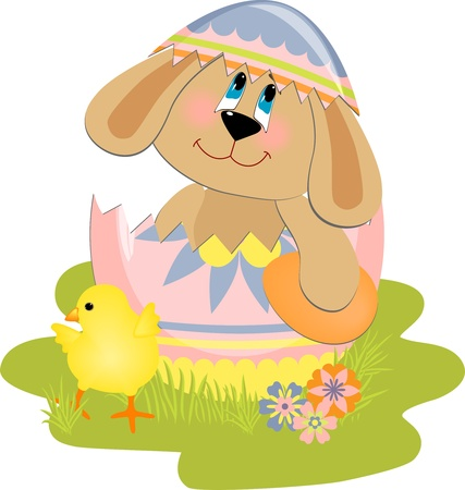 Cute Easter illustration with toy Vector