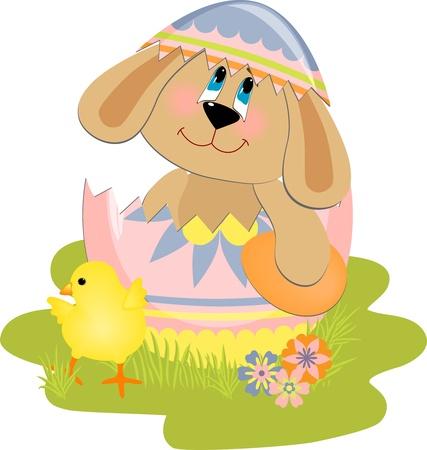 lapin silhouette: Jolie illustration de Pâques avec toy Illustration