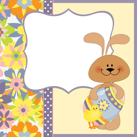 Cute template for Easter greetings card with rabbit Vector