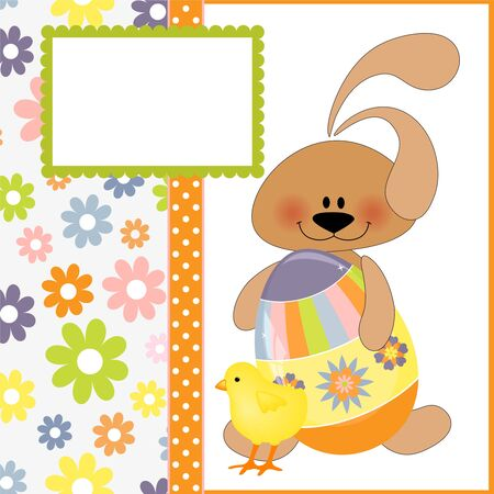Cute template for Easter greetings card with rabbit