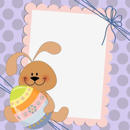 conejo caricatura: Linda plantilla de tarjeta de saludos de Pascua Vectores