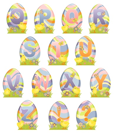 initial: Cute Easter alphabet with eggs Illustration