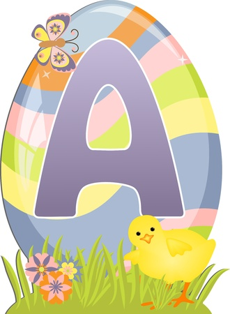 Cute initial letter A for easter design Vector