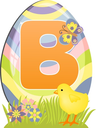 Cute initial letter B for easter design