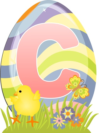 Cute initial letter C for easter design Vector