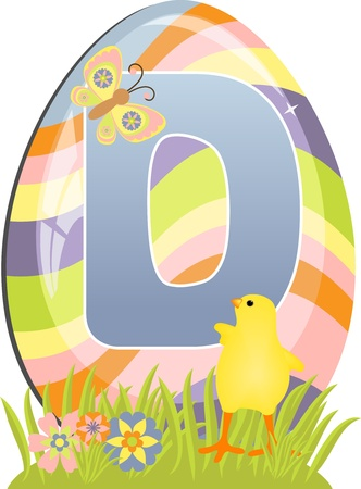 Cute initial letter D for easter design