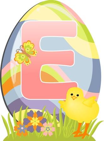 Cute initial letter E for easter design Vector