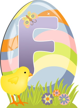Cute initial letter F for easter design Vector
