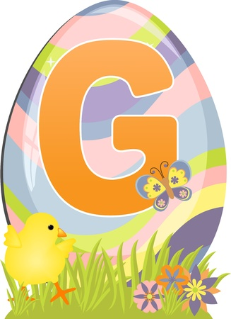 Cute initial letter G for easter design Vector