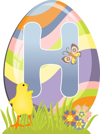 Cute initial letter H for easter design