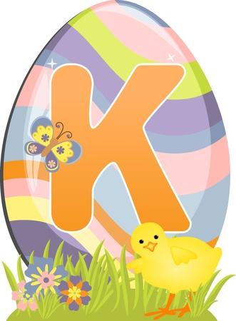 Cute initial letter K for easter design