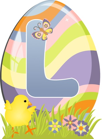 Cute initial letter L for easter design Vector