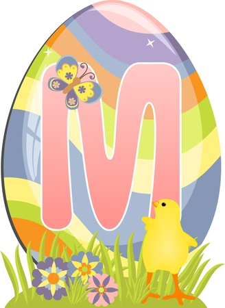 Cute initial letter M for easter design Vector