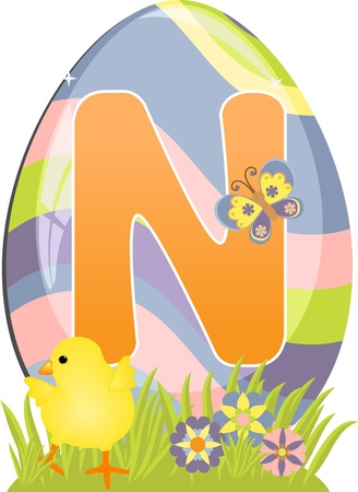 typeface: Cute initial letter N for easter design