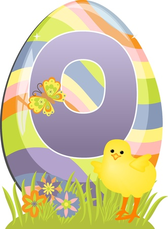 Cute initial letter O for easter design Vector