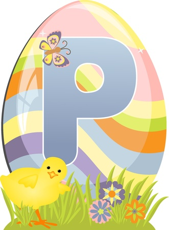 Cute initial letter P for easter design Vector