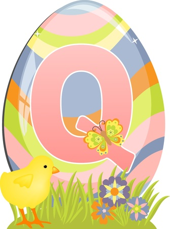 Cute initial letter Q for easter design Vector