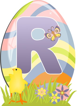 Cute initial letter R for easter design