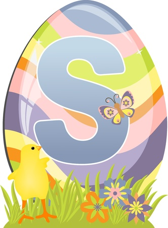 Cute initial letter S for easter design