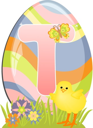 Cute initial letter T for easter design Vector