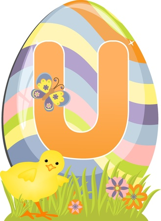 Cute initial letter U for easter design Vector