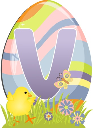 Cute initial letter V for easter design Vector
