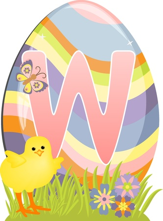 Cute initial letter W for easter design Vector