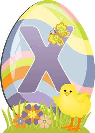 Cute initial letter X for easter design Vector